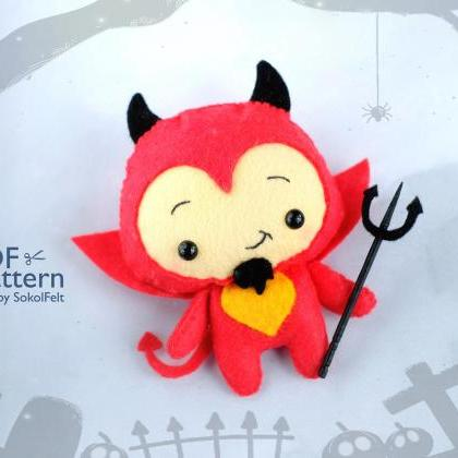 Cute devil toy sewing PDF pattern, ..