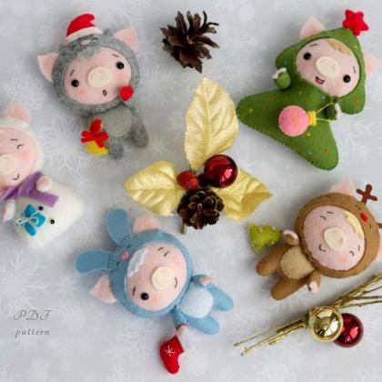 Christmas pig toy sewing PDF Patter..
