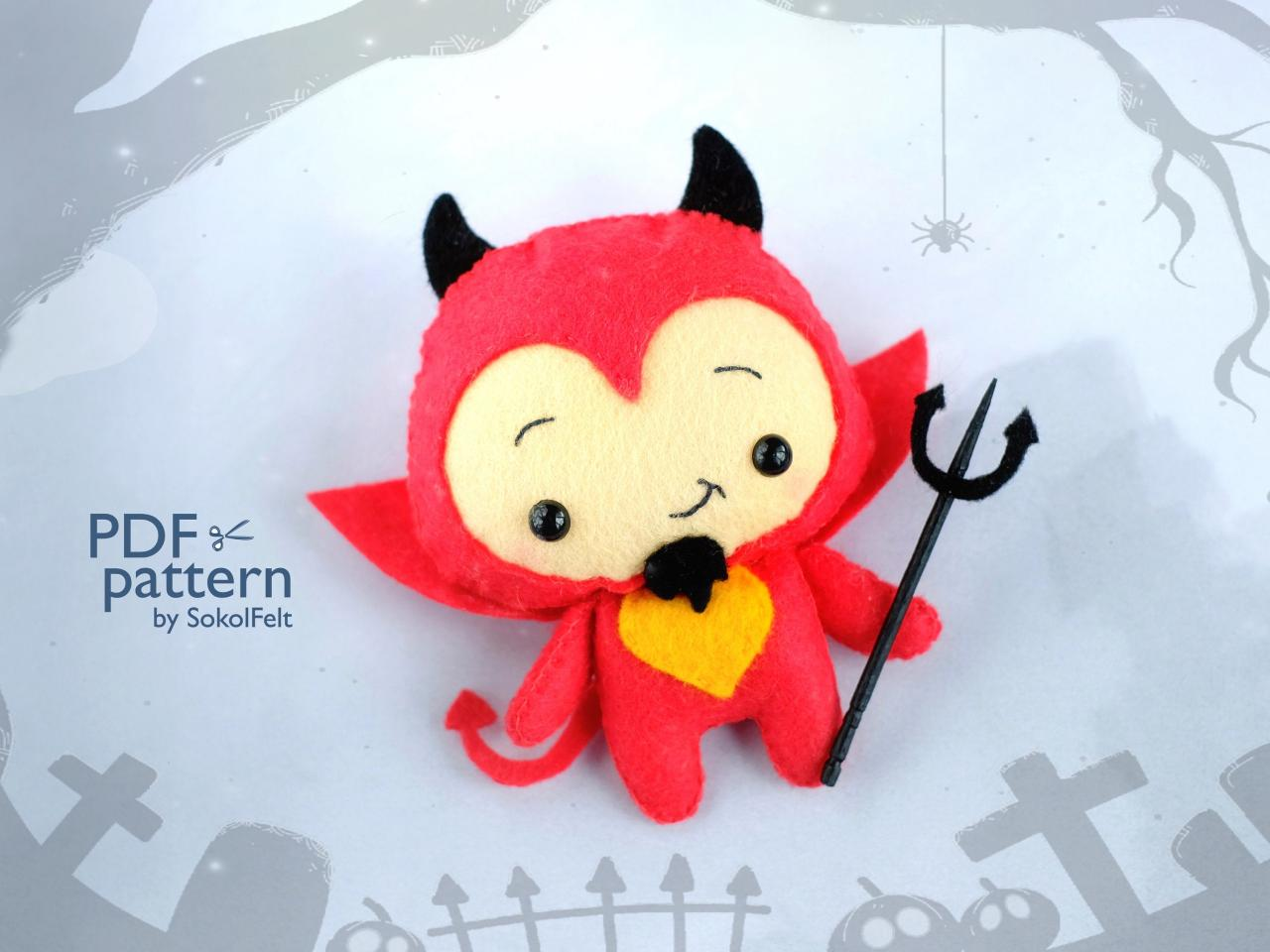 Cute devil toy sewing PDF pattern, Felt Halloween ornament, Easy to make Halloween toy