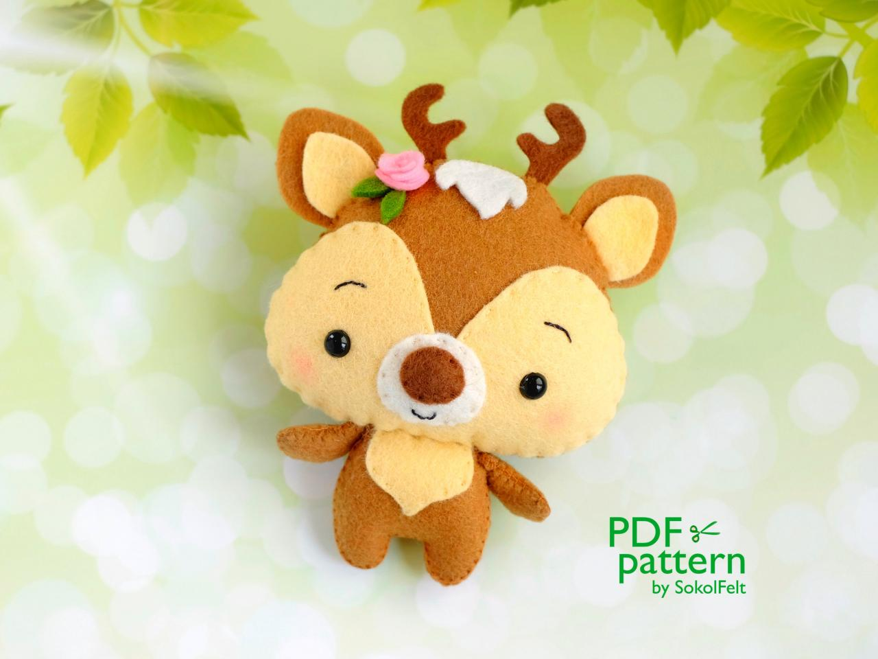 Deer PDF pattern, Felt woodland baby animal toy sewing tutorial, Baby crib mobile toy, Fawn ornament.