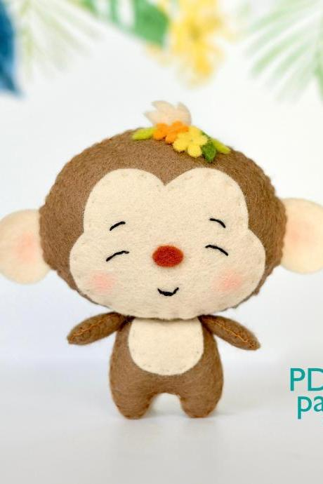Monkey PDF pattern, Felt African wild animals plush toy sewing tutorial, Jungle safari animal, felt baby crib mobile toy