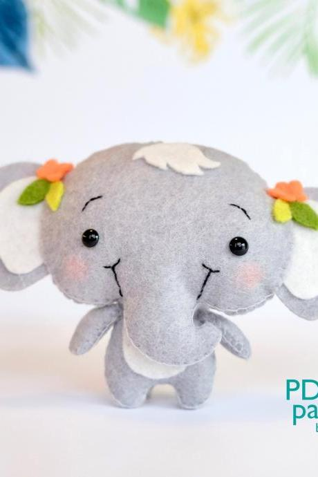 Elephant PDF pattern, Jungle safari baby animal toy sewing tutorial, African wild animal, felt baby crib mobile toy