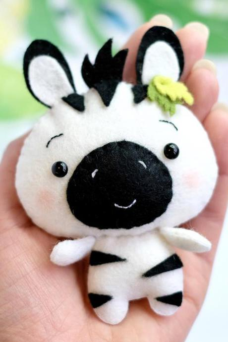 Zebra PDF pattern, Jungle safari baby animal toy sewing tutorial, African wild animal, felt baby crib mobile toy
