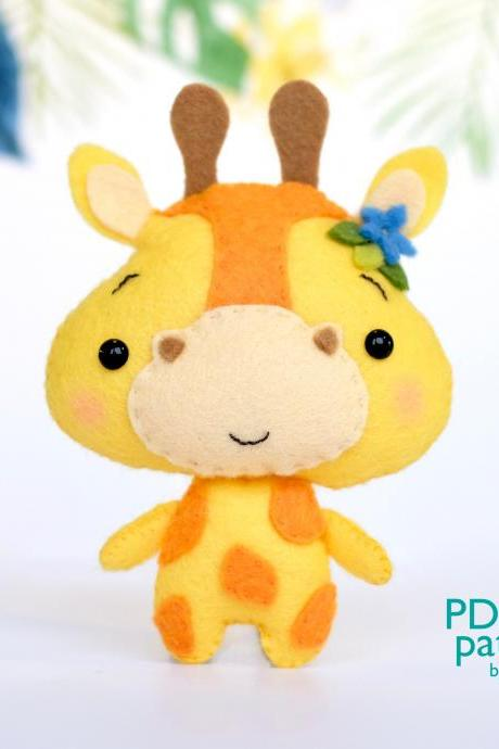 Giraffe PDF pattern, Jungle safari baby animal toy sewing tutorial, African wild animal, felt baby crib mobile toy
