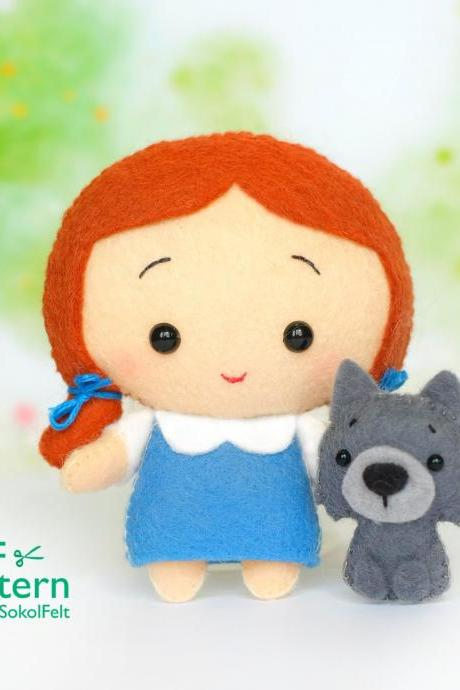 Felt Dorothy and Toto toy sewing PDF patterns, Wonderfull Wizard of Oz toys, Baby crib mobile toy