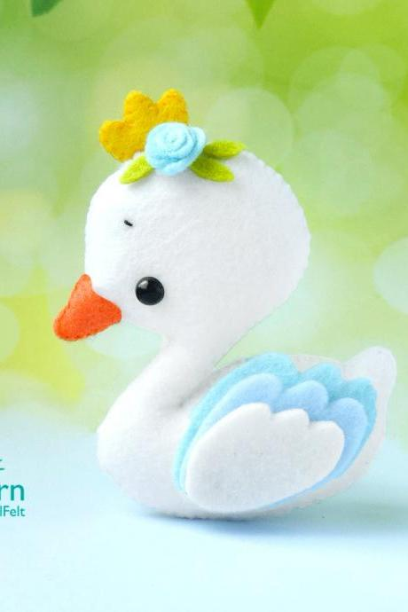 Cute swan princess felt toy PDF and SVG pattern, Bird plush toy sewing tutorial, Baby crib mobile toy