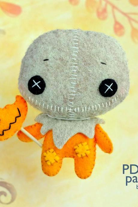 Trick 'r Treat Sam felt toy PDF and SVG patterns, Ghost of Halloween, Easy to make plush toy for Halloween