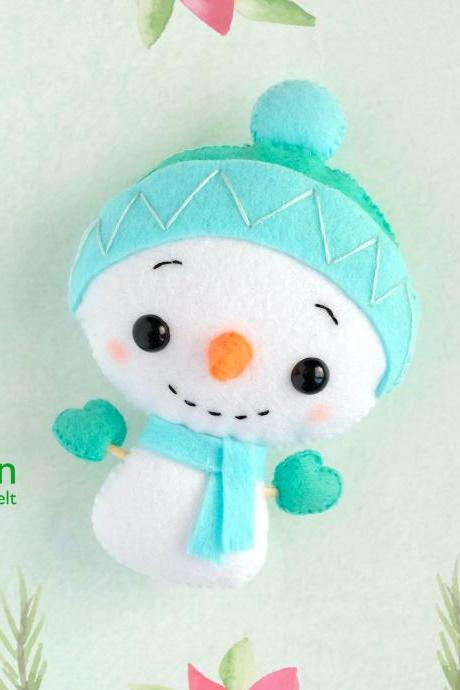 Felt Snowman toy sewing PDF pattern, Christmas tree plush ornament, baby crib mobile toy