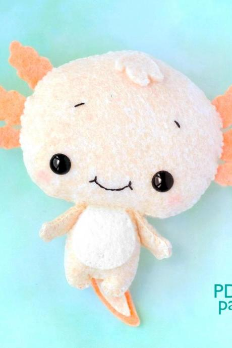 Baby Axolotl felt toy sewing PDF and SVG Pattern, Cute salamander softie, Sea Life baby crib mobile toy, Under the sea
