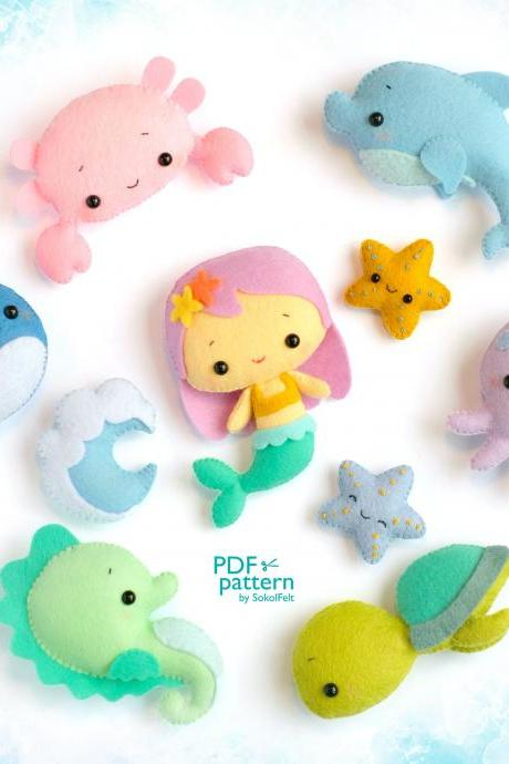Sea creatures felt toy PDF and SVG patterns, Sea life mobile, Mermaid, Whale, Seahorse, Octopus, Sea turtle, Crab, Dolphin, Starfish, Wave