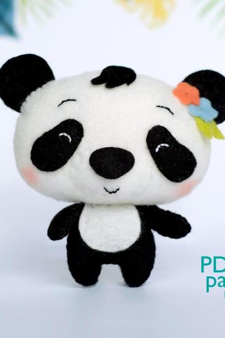 Panda PDF pattern, Felt woodland animal plush toy sewing tutorial, baby crib mobile toy