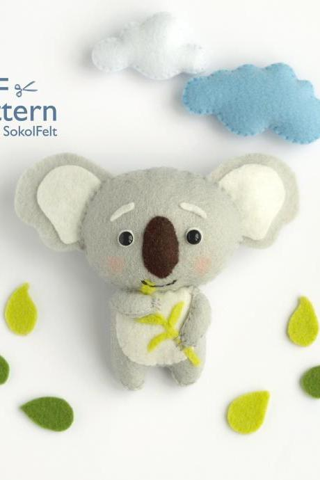 Felt Koala sewing PDF pattern, Felt woodland animal pattern, baby crib mobile toy, felt koala ornament