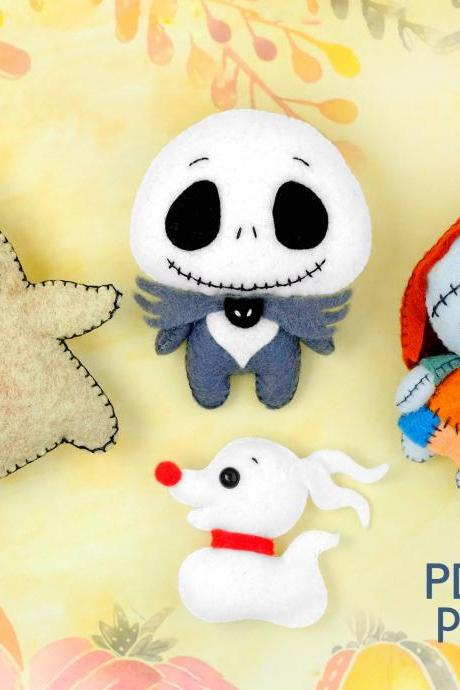 Set of 4 Halloween felt toy PDF and SVG patterns, Nightmare before Christmas, Jack Skellington, Sally, Oogie Boogie and Zero