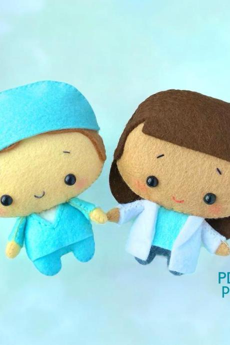 Doctor and nurse felt toy sewing PDF and SVG patterns, Cute handmade gift for medics