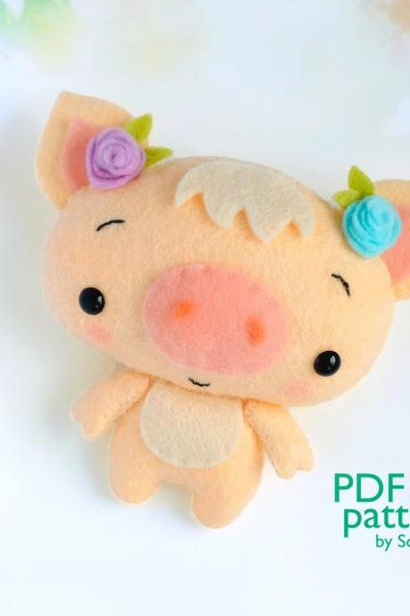 Felt baby pig toy sewing PDF pattern, Cute farm animal, Felt piglet digital instant download tutorial, Baby crib mobile toy
