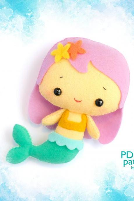 Cute Mermaid toy sewing PDF and SVG Patterns, Felt Sea creature sewing tutorial, Sea Life baby crib mobile toy