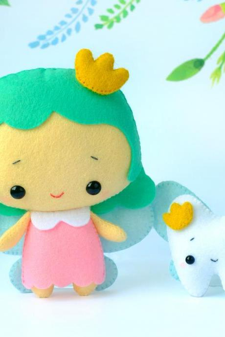 Tooth fairy with a tooth pillow felt toy sewing PDF patterns, DIY fairy plush toy, princess doll