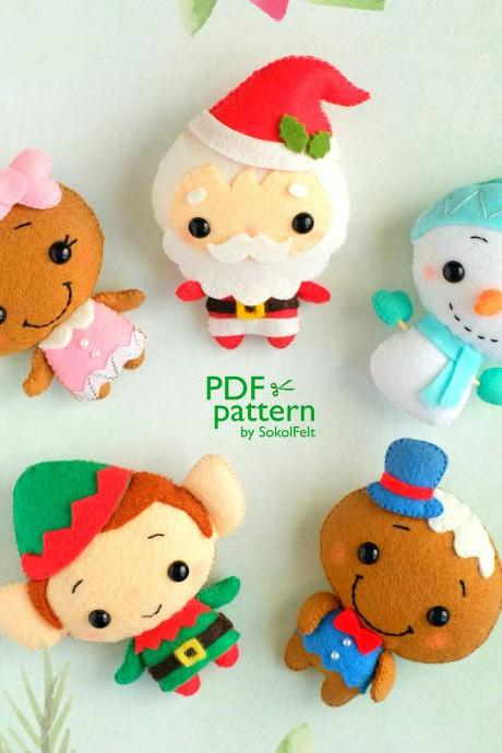 Set of Felt Christmas toy sewing PDF and SVG patterns, Santa, Elf, Snowman, Mr. and Mrs. Gingerbread plush ornaments, Felt baby mobile
