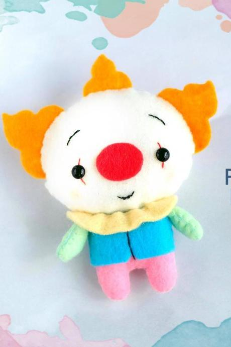 Felt Pennywise clown toy sewing PDF pattern, Easy to make Halloween toy, Felt clown ornament, Halloween toy tutorial, monster softie