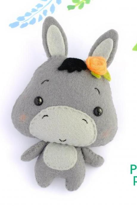 Felt baby donkey toy sewing PDF pattern, Cute farm animal, Felt burro digital instant download tutorial, Baby crib mobile toy