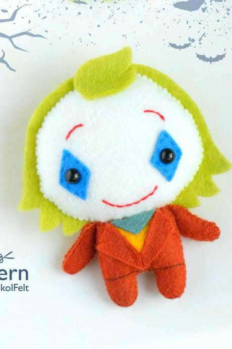 Felt Joker toy sewing PDF and SVG pattern, Halloween easy to make plush toy