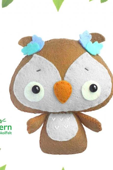 Baby owl PDF pattern, Felt bird toy sewing tutorial, Baby crib mobile toy, Woodland animal ornament