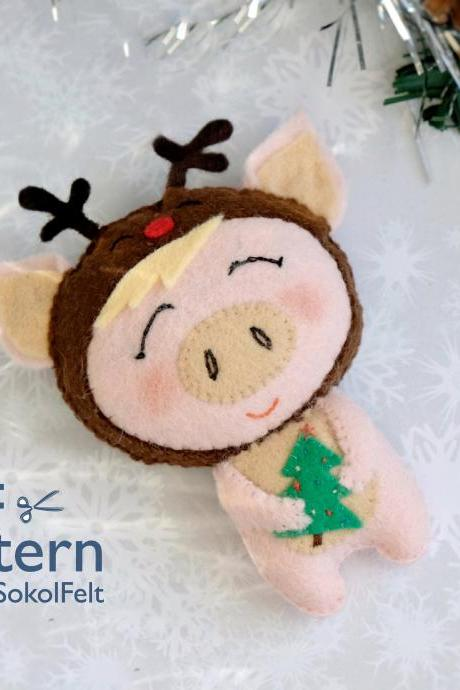 Felt Christmas pig toy sewing PDF pattern, Christmas piglet ornament, Baby first Christmas toy, Christmas tree ornament