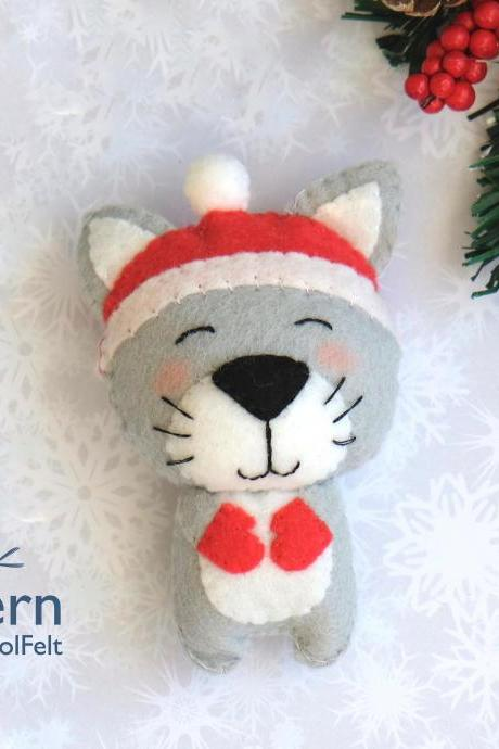 Felt Christmas Cat toy sewing PDF pattern, Felt cat in the hat ornament, Christmas cat ornament, baby crib mobile toy