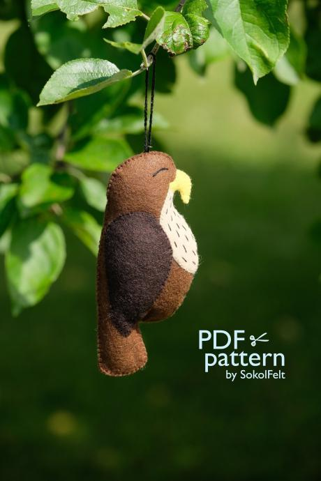 Felt Falcon toy sewing PDF Pattern, DIY bird ornament, Felt bird PDF pattern