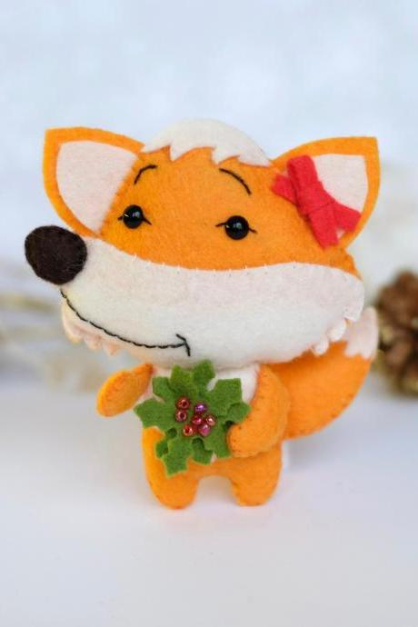Felt fox toy sewing PDF pattern, DIY fox ornament, woodland animal pattern, Felt Christmas ornament, baby crib mobile