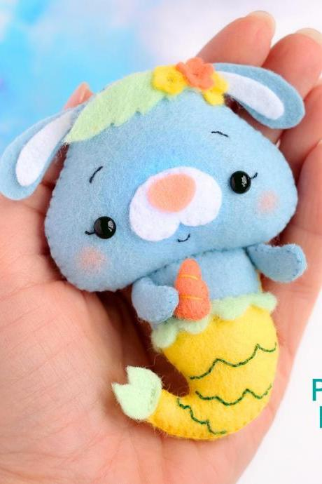 Felt mermaid bunny toy PDF pattern, Sea life toy digital sewing tutorial, Under the sea felt baby mobile