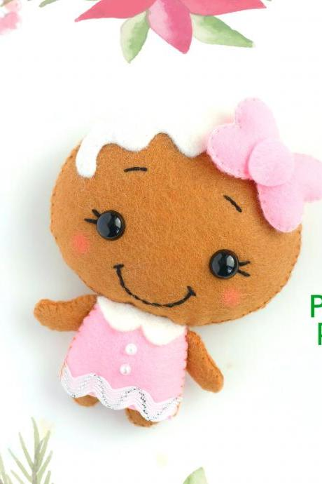 Felt Mrs. Gingerbread toy PDF pattern, Christmas Gingerbread man sewing digital tutorial, Christmas tree toy ornament, baby crib mobile toy