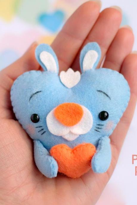 Felt baby rabbit toy sewing PDF pattern, Heart shaped animal ornament, St. Valentines pattern, Hare sewing digital tutorial