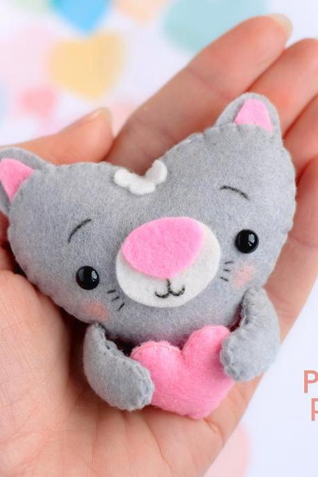 Felt baby cat toy sewing PDF pattern, Heart shaped animal ornament, St. Valentines pattern, Kitty sewing digital tutorial