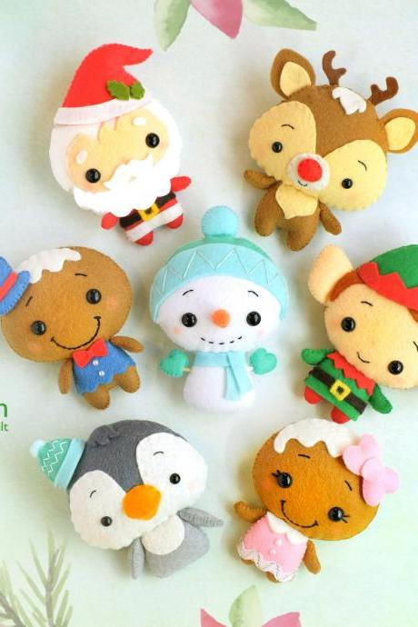 Set of 7 Felt Christmas toy sewing PDF and SVG patterns, Santa, Rudolph, Elf, Snowman, Mr. and Mrs. Gingerbread and Penguin Felt baby mobile