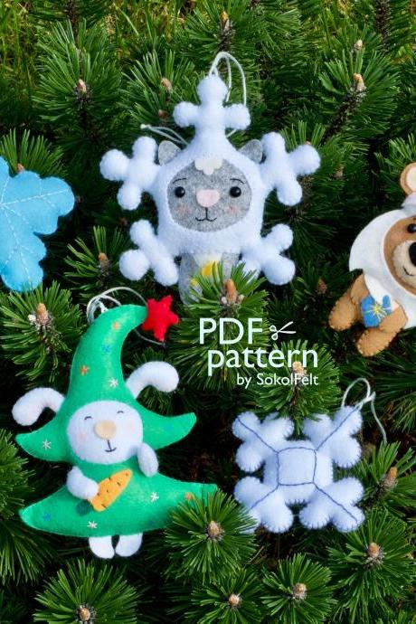Set of 5 felt Christmas ornaments sewing PDF pattern, Bear, Cat, Bunny and snowflake toys, Christmas tree handmade decor, Digital tutorials