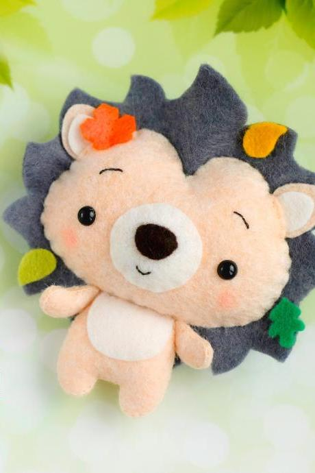 Hedgehog PDF pattern, Felt woodland animal plush toy sewing tutorial, Baby crib mobile toy, Felt hedgehog ornament