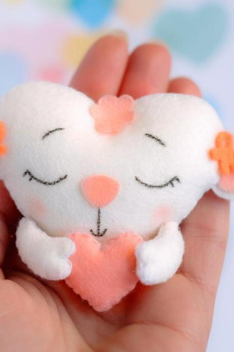 Felt baby lamb toy sewing PDF pattern, Heart shaped animal ornament, St. Valentines pattern, Sheep sewing digital tutorial