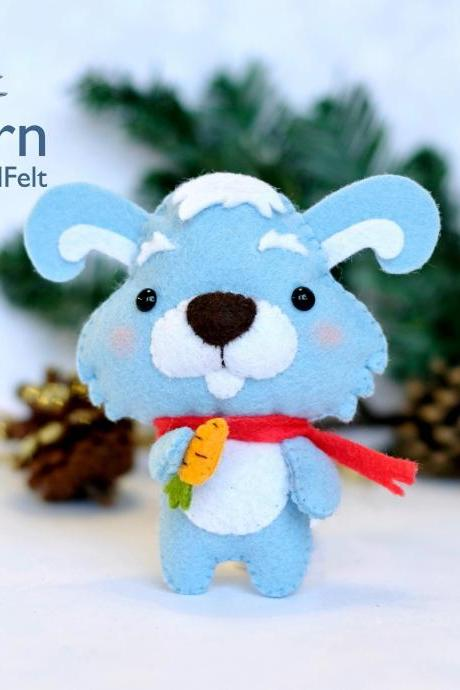 Bunny PDF pattern, Felt woodland animal plush toy sewing tutorial, Felt Christmas ornament, Baby crib mobile toy