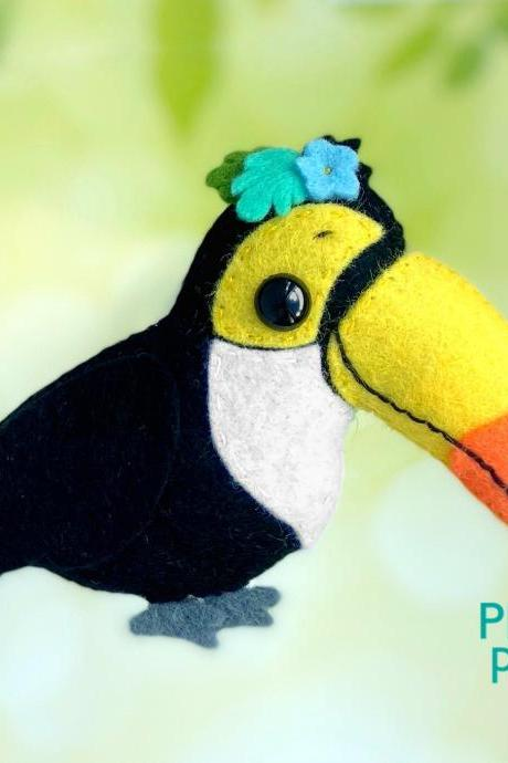 Cute toucan felt toy PDF and SVG pattern, Plush bird toy sewing tutorial, Baby crib mobile toy