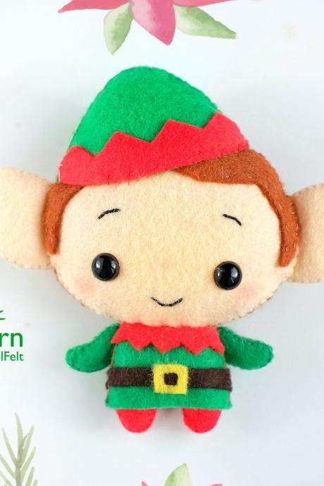 Felt Christmas Elf toy sewing PDF pattern, Christmas tree toy ornament, baby crib mobile toy