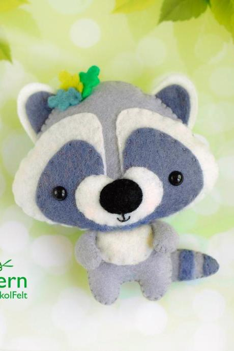 Raccoon PDF pattern, Felt woodland baby animal toy sewing tutorial, Baby crib mobile toy, Teddy bear ornament