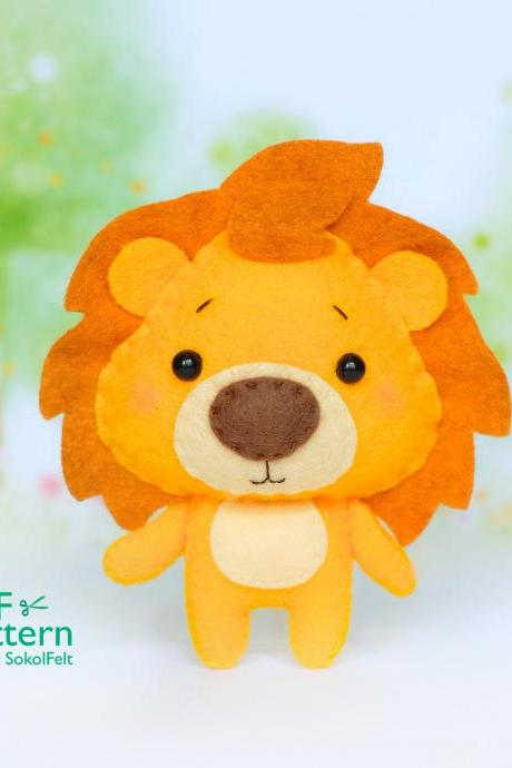 Felt Cowardly lion toy sewing PDF pattern, Wonderfull Wizard of Oz toys, Baby crib mobile toy