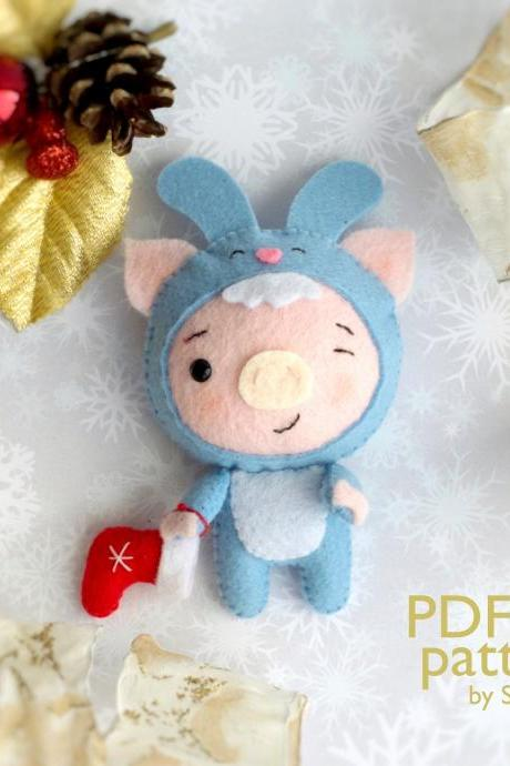 Christmas pig sewing PDF Pattern, Felt Christmas piglet in a bunny costume, Baby crib mobile toy