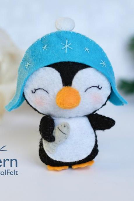 Little Felt penguin toy sewing PDF pattern, Christmas tree ornament, felt toy pattern for baby crib mobile, kids craft tutorial
