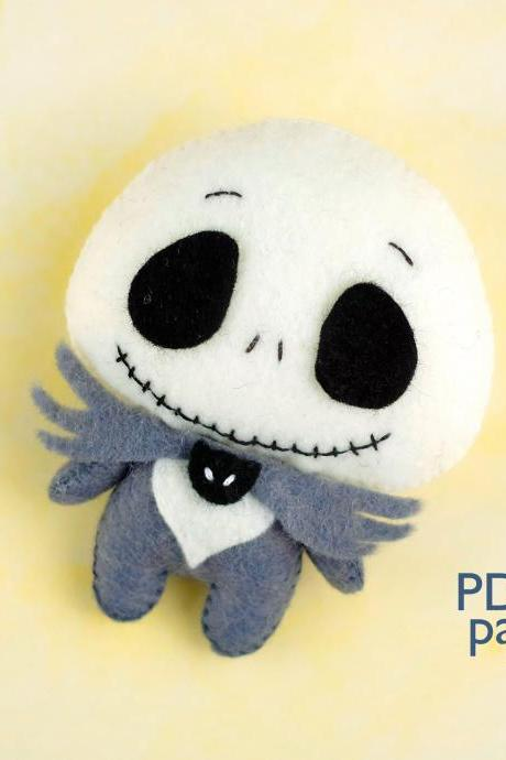 Felt Jack Skellington toy sewing PDF pattern, Nightmare before Christmas, Easy to make Halloween toy