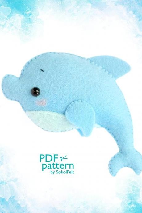 Dolphin toy sewing PDF Pattern, Felt Sea Ocean animal sewing tutorial, Sea Life baby crib mobile toy, Nautical nursery decoration