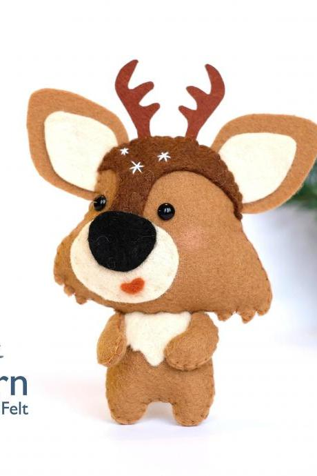 Felt reindeer toy sewing PDF pattern, Felt reindeer ornament, felt woodland animal, Felt Christmas ornament, DIY Rudolf deer toy