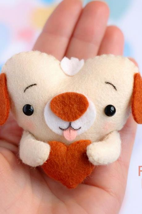 Felt baby puppy toy sewing PDF pattern, Heart shaped animal ornament, St. Valentines pattern, Dog digital tutorial