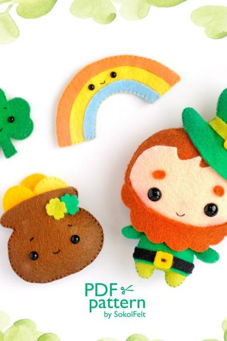 St. Patrick's day felt ornament sewing PDF Patterns, Leprechaun, Clover, Pot with gold, Rainbow, St. Patrick's Day decor